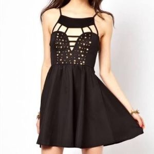REVERSE caged little black dress small